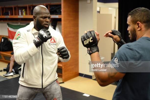 Jairzinho Rozenstruik of Suriname warms up backstage during the UFC Fight Night event at Bon Secours Wellness Arena on June 22 2019 in Greenville...