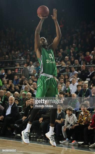 Jajuan Johnson #25 of Darussafaka Istanbul in action during the 7DAYS EuroCup Basketball Finals game two between Darussafaka Istanbul v Lokomotiv...