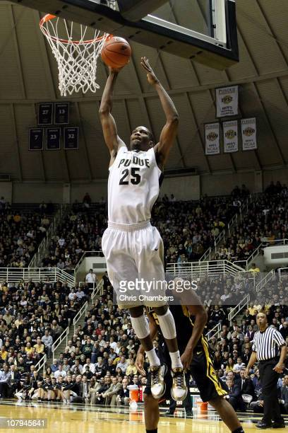 JaJuan Johnson of the Purdue Boilermakers dunks in the first half against the Iowa Hawkeyes at Mackey Arena on January 9, 2011 in West Lafayette,...