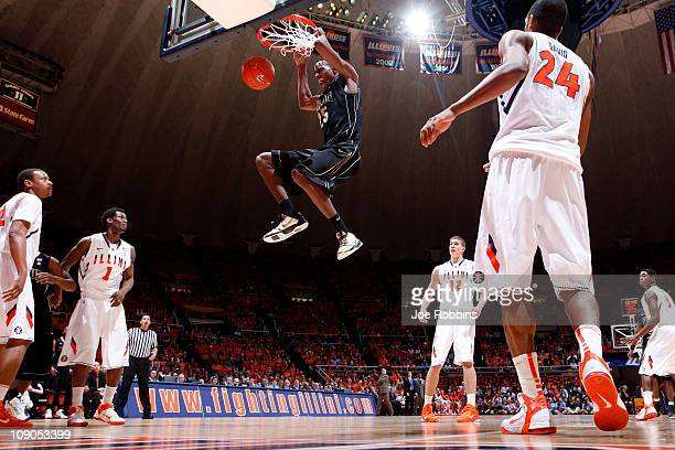 JaJuan Johnson of the Purdue Boilermakers gets free for a dunk against the Illinois Fighting Illini at Assembly Hall on February 13 2011 in Champaign...