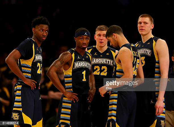 Jajuan JohnsonDuane WilsonWally EllensonHaanif Cheatham and Henry Ellenson of the Marquette Golden Eagles react late in the second half as they are...