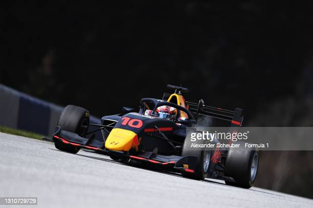 Jak Crawford of United States and Hitech Grand Prix drives during Day Two of Formula 3 Testing at Red Bull Ring on April 04, 2021 in Spielberg,...