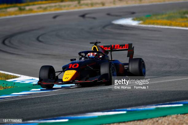 Jak Crawford of United States and Hitech Grand Prix drives during day two of Formula 3 Testing at Circuito de Jerez on May 13, 2021 in Jerez de la...