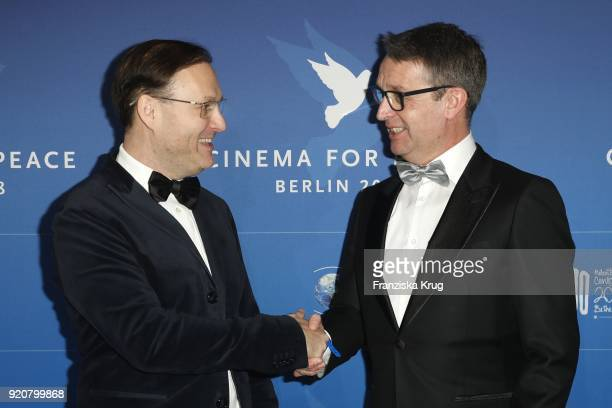 Jaka Bizilj and Gabor Steingart attend the Cinema For Peace Gala on the occasion of the 68th Berlinale International Film Festival at Hotel De Rome...