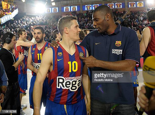 Jaka Lakovic, #10 of Regal FC Barcelona and Pete Mickeal, #33 celebrates at the end of the Play-Offs Date 1 game between Regal FC Barcelona vs...