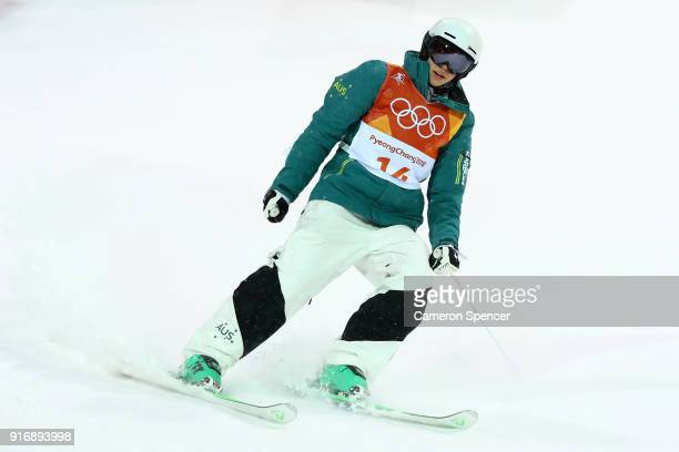 Jakara Anthony of Australia celebrates during the Freestyle Skiing Ladies' Moguls Final on day two of the PyeongChang 2018 Winter Olympic Games at...