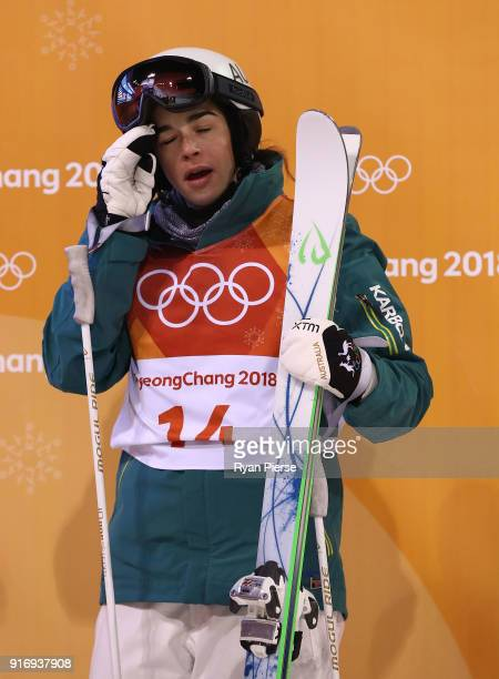 Jakara Anthony of Australia reacts after her run during the Freestyle Skiing Womens Moguls Final on day two of the PyeongChang 2018 Winter Olympic...