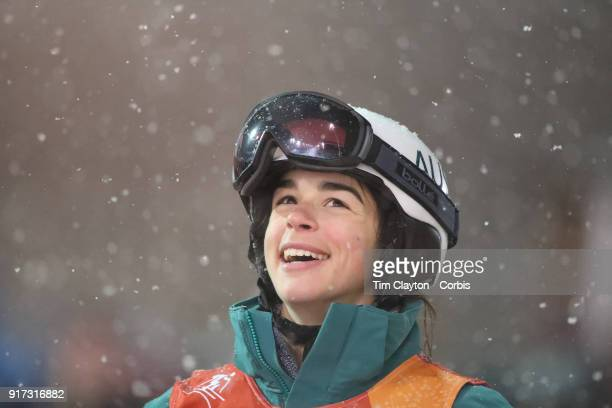 Jakara Anthony of Australia reacts after qualifying for the final during the Freestyle Skiing Ladies' Moguls competition at Phoenix Snow Park on...