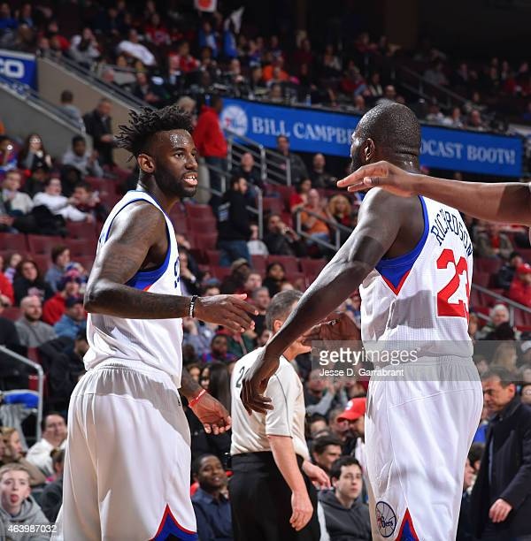JaKarr Sampson and Jason Richardson of the Philadelphia 76ers give each other five against the Indiana Pacers at Wells Fargo Center on February 20...