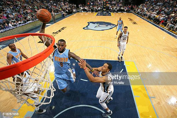 JaKarr Sampson of the Denver Nuggets goes up for a dunk against the Memphis Grizzlies on March 30 2016 at FedExForum in Memphis Tennessee NOTE TO...