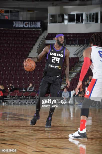 JaKarr Sampson of the Reno Bighorns dribbles the ball against the Delaware 87ers during NBA GLeague Showcase Game 26 on January 13 2018 at the...
