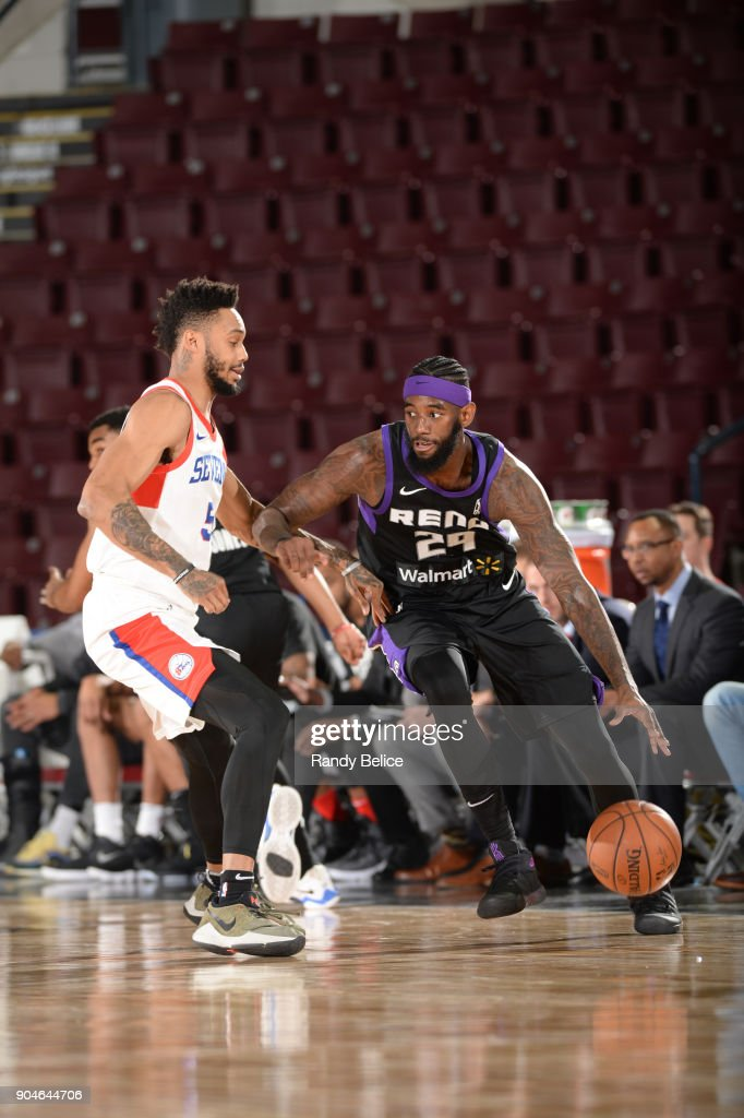 JaKarr Sampson #29 of the Reno Bighorns dribbles the ball during NBA G League Showcase Game 26 between the Reno Bighorns and the Delaware 87ers on January 13, 2018 at the Hershey Centre in Mississauga, Ontario Canada.