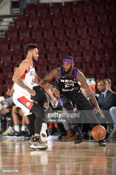 JaKarr Sampson of the Reno Bighorns dribbles the ball during NBA G League Showcase Game 26 between the Reno Bighorns and the Delaware 87ers on...