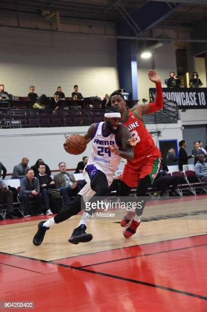 JaKarr Sampson of the Reno Bighorns drives to the basket against the Maine Red Claws during the GLeague Showcase on January 11 2018 at the Hershey...