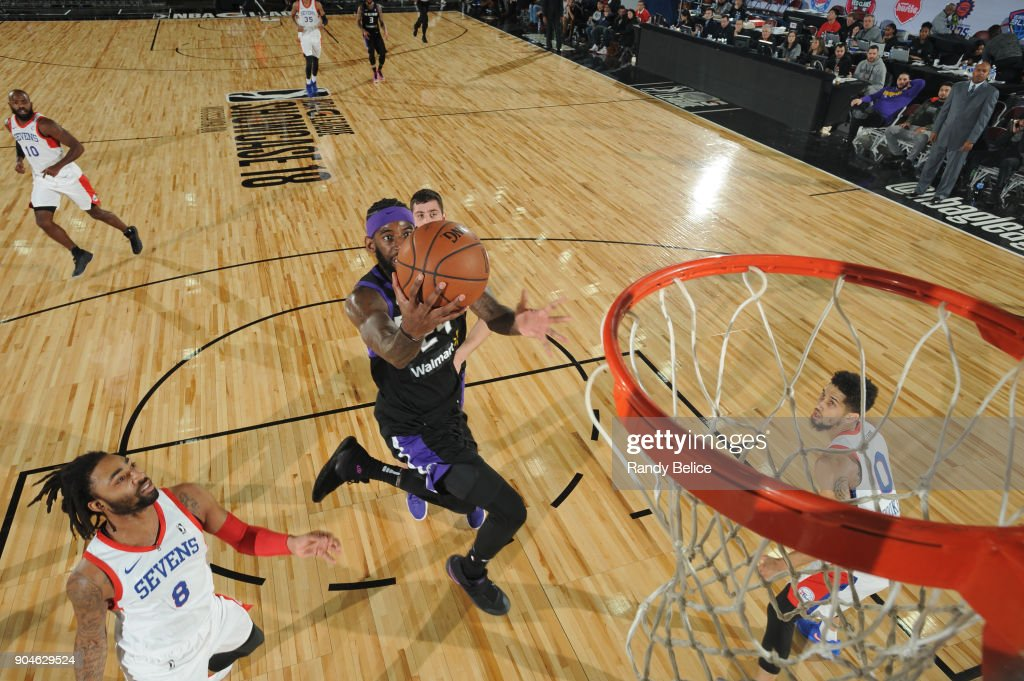 JaKarr Sampson #29 of the Reno Bighorns drives to the basket against the Delaware 87ers during NBA G-League Showcase Game 26 on January 13, 2018 at the Hershey Centre in Mississauga, Ontario Canada.