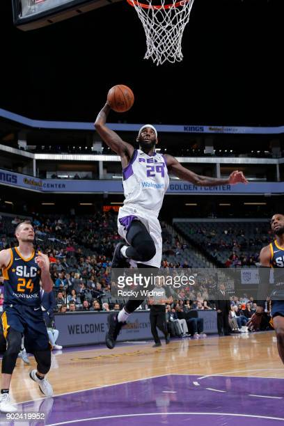 JaKarr Sampson of the Reno Bighorns goes to the basket against the Salt Lake City Stars on January 7 2018 at Golden 1 Center in Sacramento California...