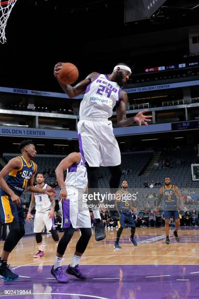 JaKarr Sampson of the Reno Bighorns grabs the rebound against the Salt Lake City Stars on January 7 2018 at Golden 1 Center in Sacramento California...