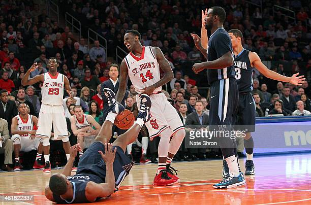 JaKarr Sampson of the St John's Red Storm reacts after a play during the game against the Villanova Wildcats at Madison Square Garden on January 11...