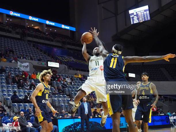 JaKarr Sampson the Fort Wayne Mad Ants shoots the ball against Shannon Bouges of the Wisconsin Herd on December 16 2019 at Memorial Coliseum in Fort...