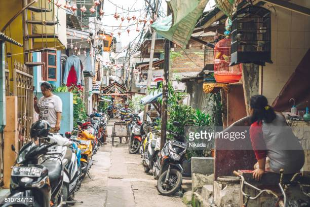 jakarta backstreet, indonesia - emerging markets stock photos and pictures