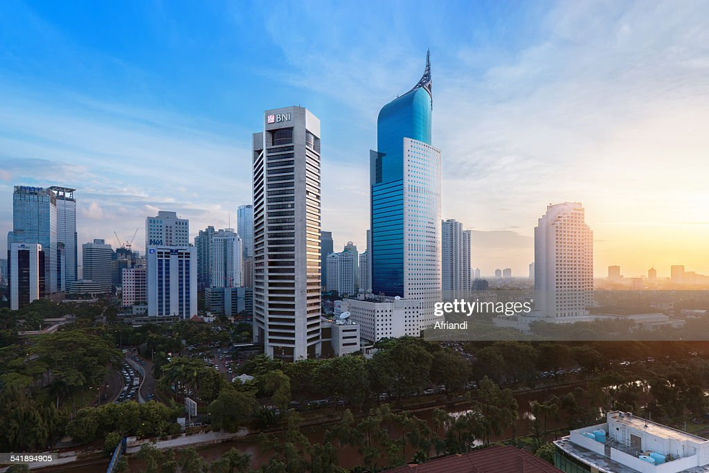 Jakarta business district with iconic BNI building : Stock Photo