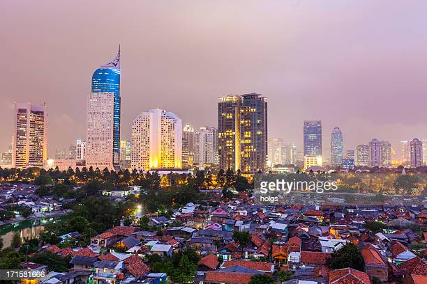 jakarta by night, indonesia - jakarta stock pictures, royalty-free photos & images