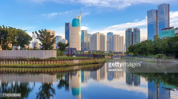 jakarta central business district with bluesky - jakarta stock pictures, royalty-free photos & images