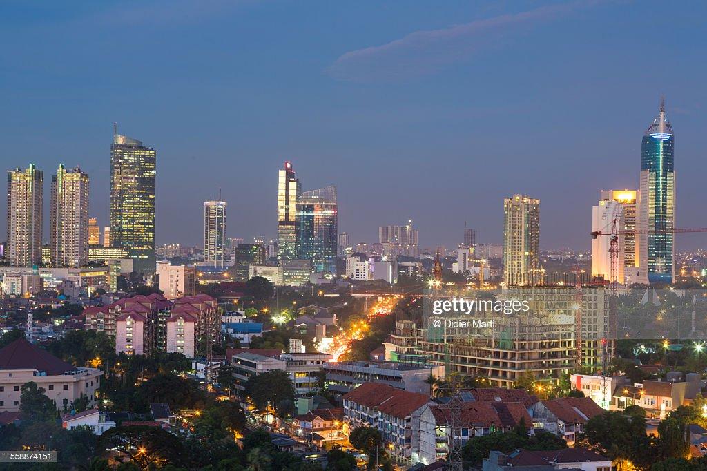 Jakarta cityscape at night : ストックフォト