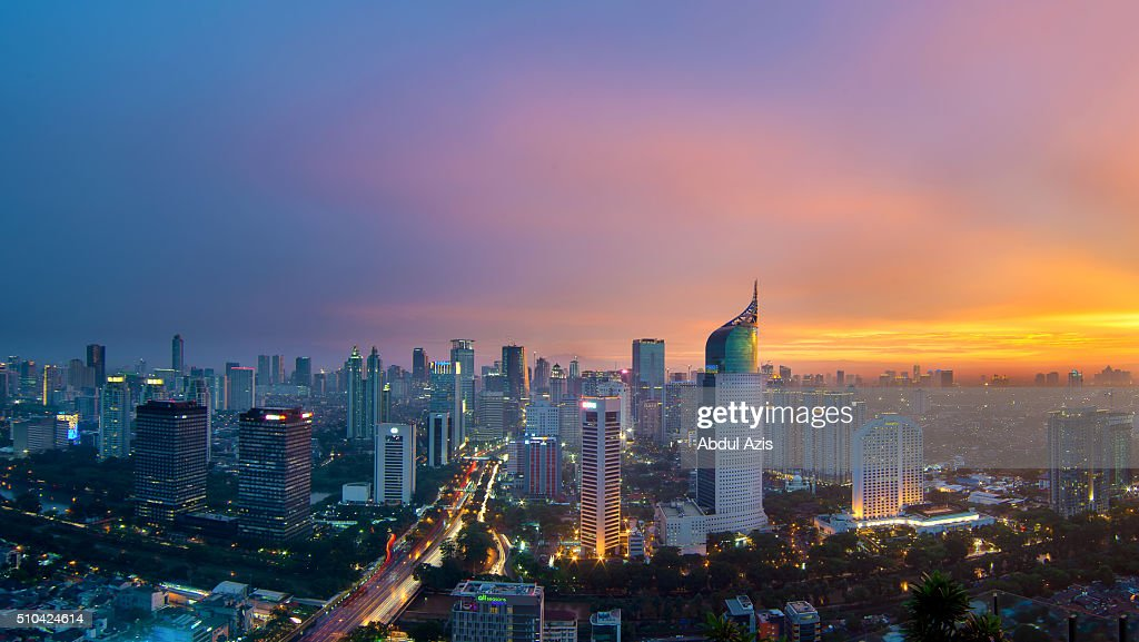 Jakarta Cityscape Epic Sunset : Stock Photo