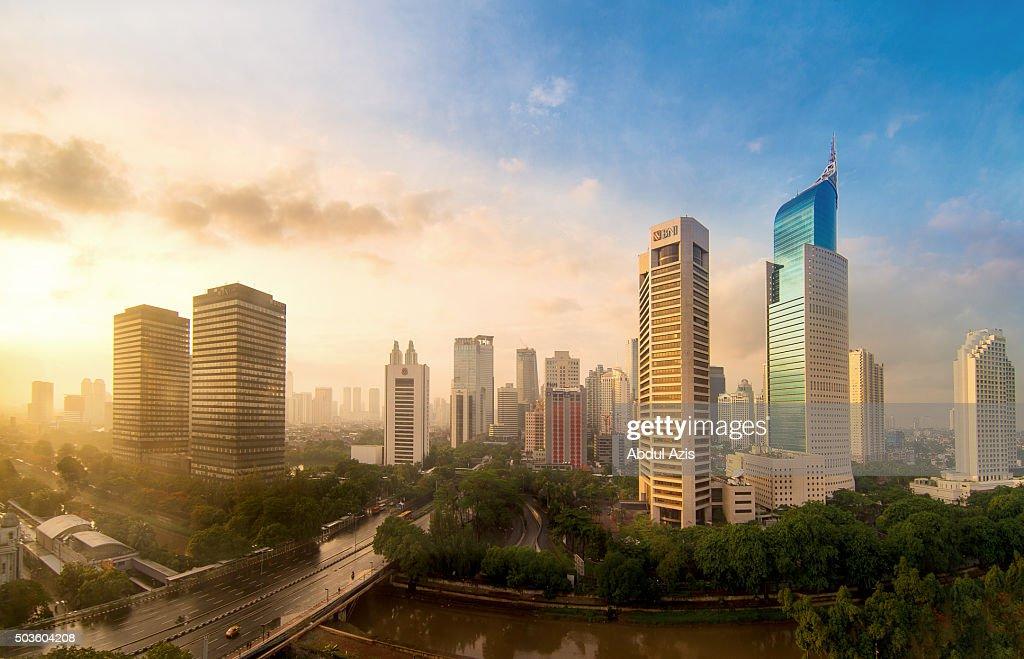 Jakarta First Sunrise in 2016 : Stock Photo
