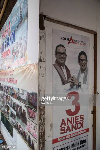 Poster of the new elected Jakarta Governor at the location After almost a year plus of demolition Aquarium village in North Jakarta for start...