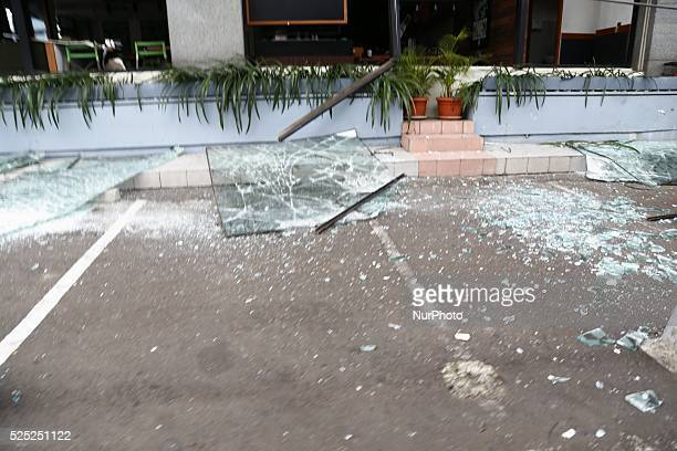 Pieces of glass from window broken after the bombing at starbucks cafe Several terrorist attack starbucks cafe at sarinahJakarta causing arround 6...