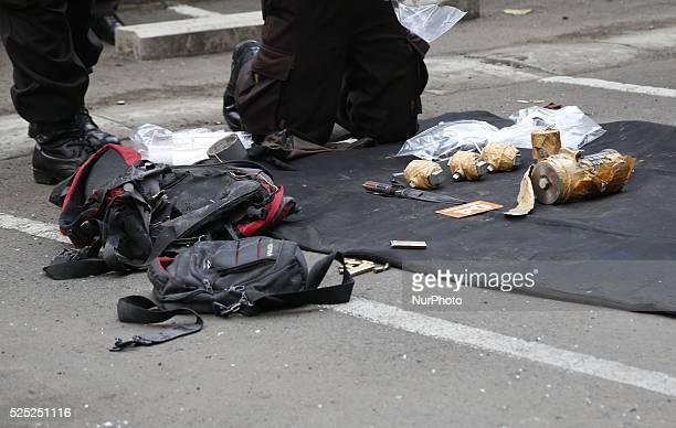 Police inspect the terrorist victim on location Several terrorist attack starbucks cafe at sarinahJakarta causing arround 6 people dead