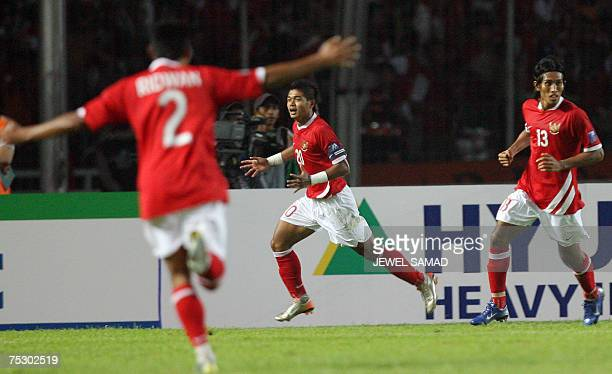Indonesian Bambang Pamungkas celebrates after scoring a goal against Bahrain during the Asian Cup 2007 Group D football match at the Bung Karno...
