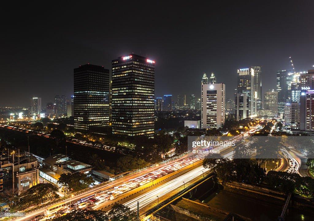 Jakarta night rush : ストックフォト