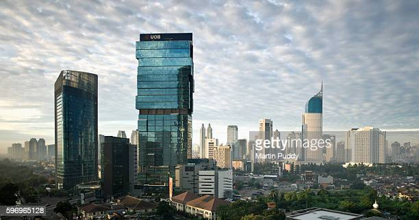 jakarta skyline at dawn - jakarta stock pictures, royalty-free photos & images