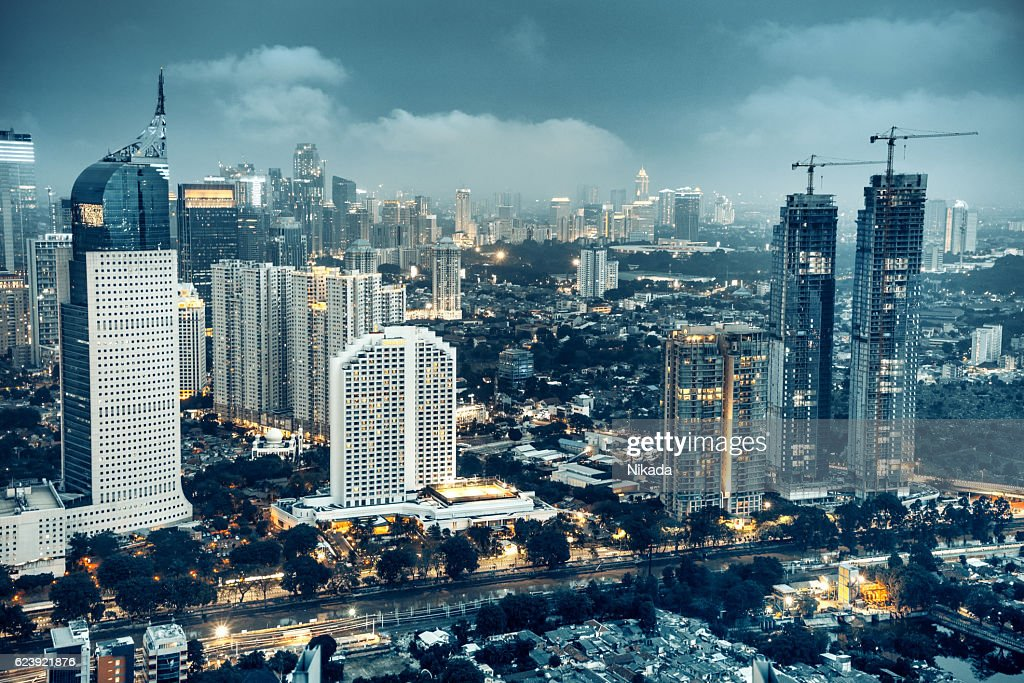 Jakarta skyline at dusk : Stock Photo