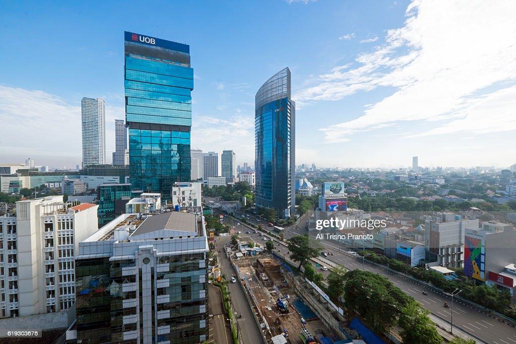Jakarta Skyline in clear morning. Jakarta City, Indonesia. : Stock Photo