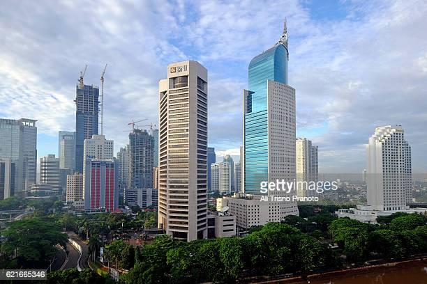 Jakarta Skyline in clear morning. Jakarta City, Indonesia.