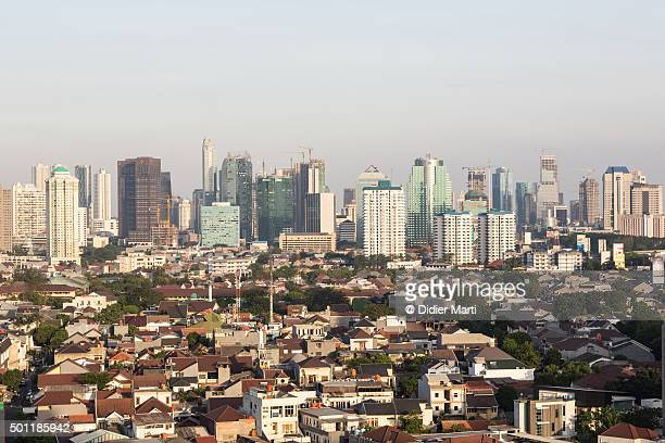 jakarta skyline in indonesia capital city - didier marti stock photos and pictures
