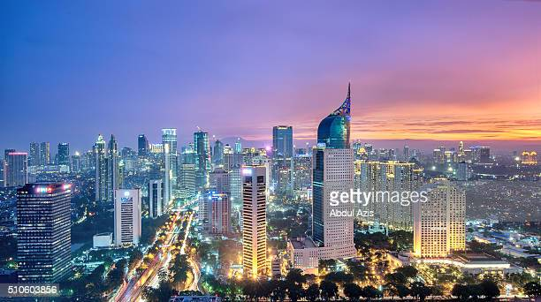 jakarta sunset - jakarta stock pictures, royalty-free photos & images