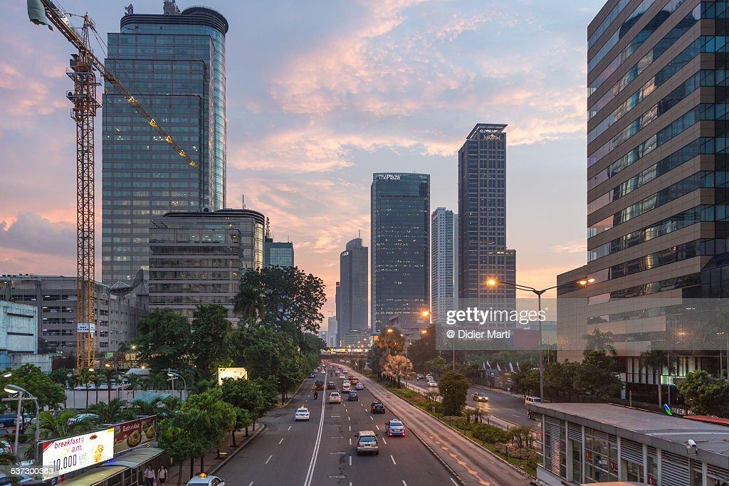 Jakarta Thamrin road rush : ストックフォト