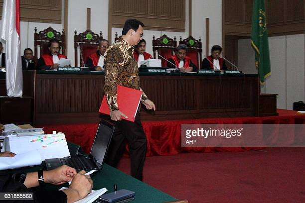 Jakarta's governor Basuki Tjahaja Purnama attends his trial at the North Jakarta court in Jakarta on January 17 2017 Purnama the first Christian...