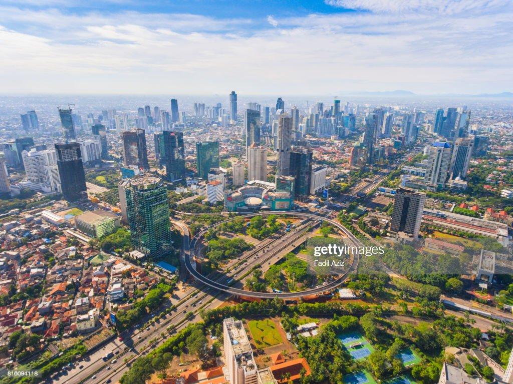 Jakarta's New Icon, Semanggi Overpass, in a Super Bright Day : Stock Photo
