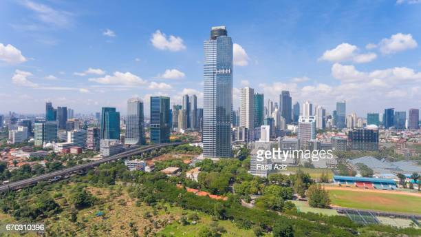 jakarta's skyscraper and its highest building: the gama tower - jakarta stock pictures, royalty-free photos & images