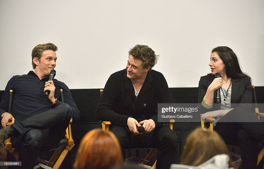 Jake Abel, Max Irons and Stephenie Meyer answer questions during 'The Host' Miami Q&A Screening at AMC Sunset Place on February 18, 2013 in Miami, Florida.