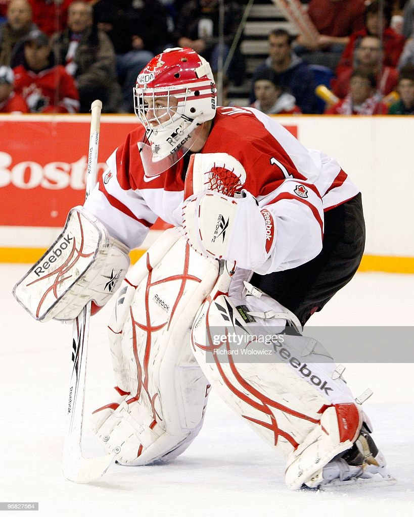 Jake Allen #1 of Team Canada watches play during the 2010 IIHF World Junior Championship Tournament game against Team USA on December 31, 2009 at the Credit Union Centre in Saskatoon, Saskatchewan, Canada. Team Canada defeated Team USA 5-4 in a shootout.