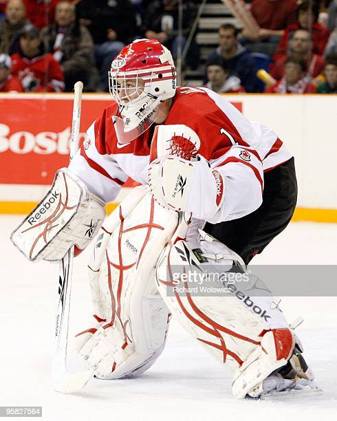 Jake Allen of Team Canada watches play during the 2010 IIHF World Junior Championship Tournament game against Team USA on December 31 2009 at the...