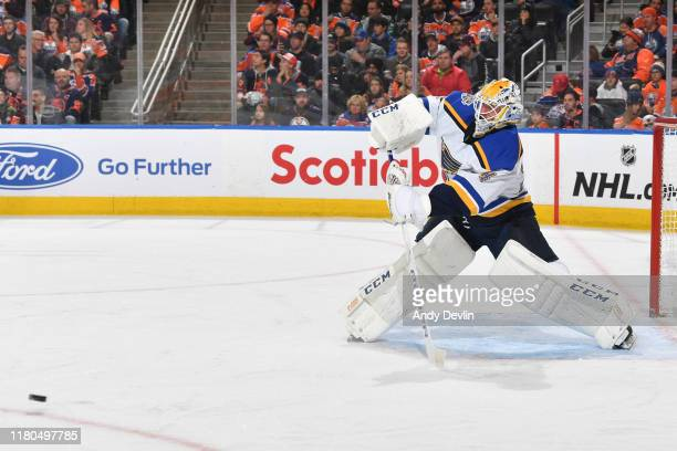 Jake Allen of the Edmonton Oilers plays the puck during the game against the St. Louis Blues on November 6 at Rogers Place in Edmonton, Alberta,...