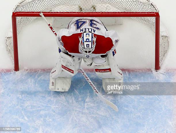 Jake Allen of the Montreal Canadiens looks on from his crease during their NHL game against the Vancouver Canucks at Rogers Arena January 21, 2021 in...